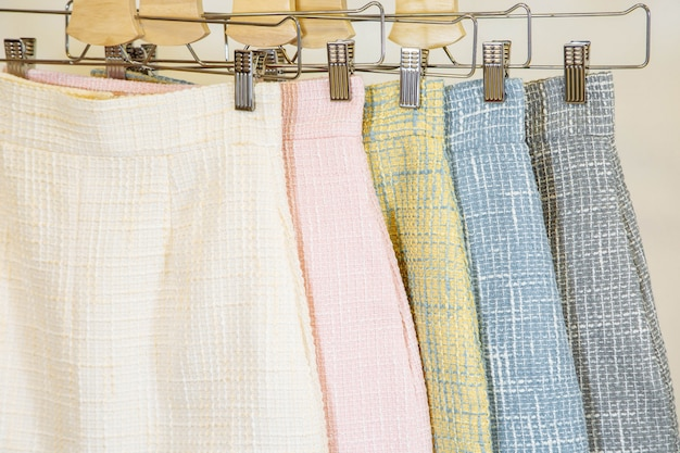 Collection of fashion skirts on the hanger