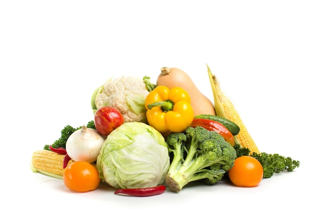 Collection of fresh vegetables isolated.