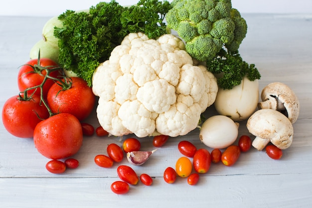 Collection of fresh vegetables on the kitchen table