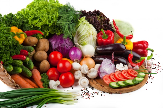 Collection fruits and vegetables isolated