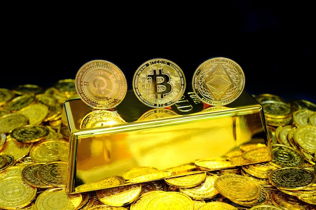 Collection of golden bi  polkadot and ethereum cryptocurrency on stack gold coin