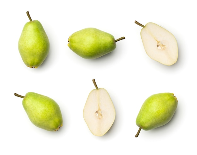 Collection of green pears isolated on white