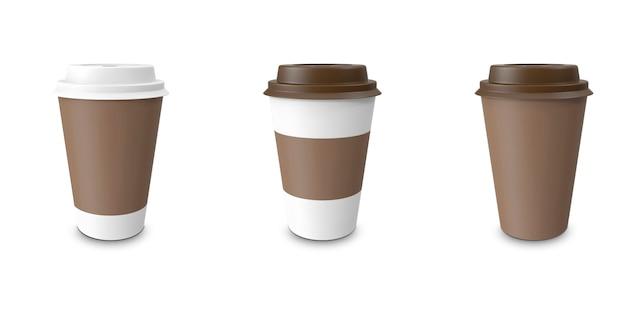 コレクション、グループ、セット、カップホルダー付きコーヒーを取り出す。孤立した