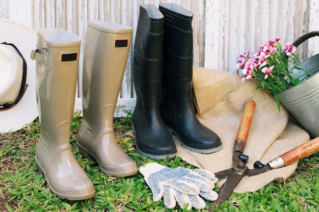Collection of gumboots with secateur