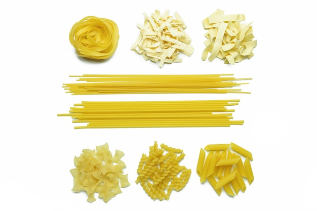Collection of italian pasta isolated top view