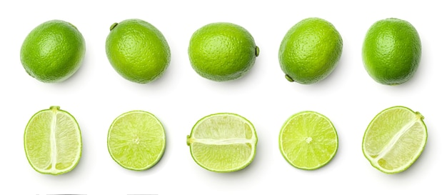 Collection of limes isolated on white background