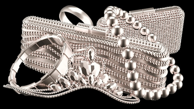 Collection of luxury jewelry and female accessories