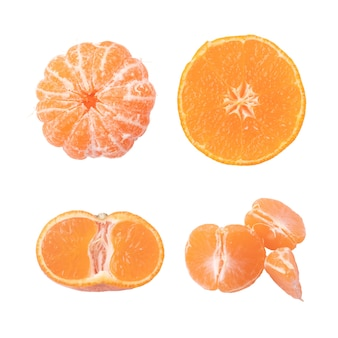 Collection of mandarin or tangerine isolated on white background. clipping path