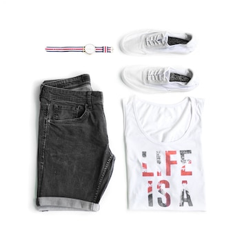 Collection of men's clothing on the white background. flat lay. top view.