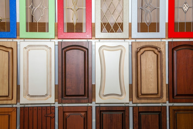 Collection of new colorful wooden doors, repair concept