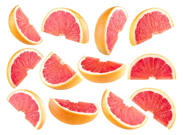 12個の分離されたグレープフルーツスライスのコレクション