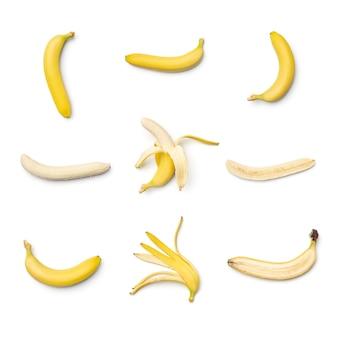 白で分離されたバナナのコレクション