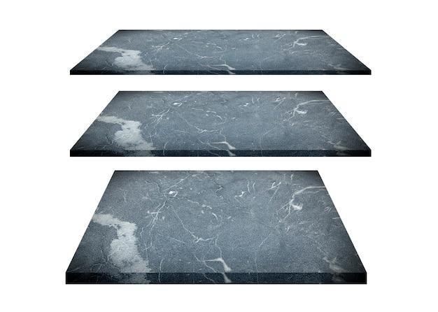격리 된 흰색에 고립 된 푸른 대리석 테이블 선반의 컬렉션입니다. 클리핑 패스 포함