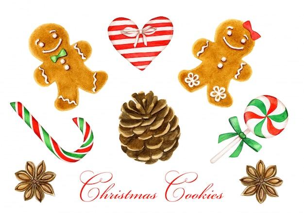 白い背景の上のクリスマスの装飾のコレクション