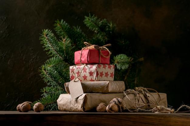 공예 종이에 크리스마스 선물 상자 컬렉션