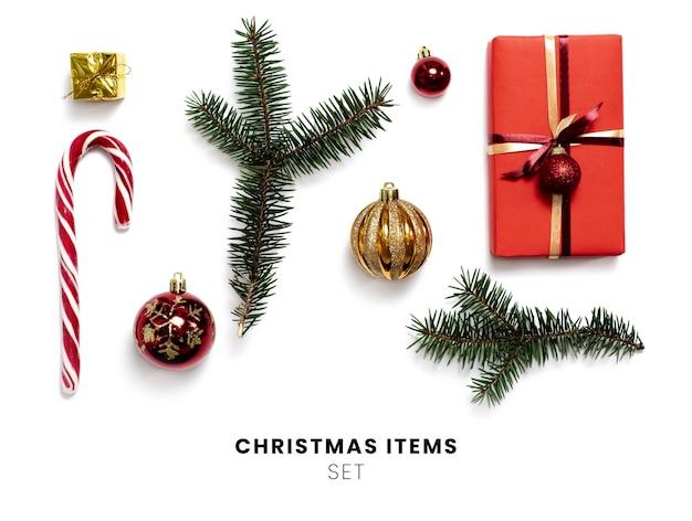 Коллекция рождественских предметов изолированные