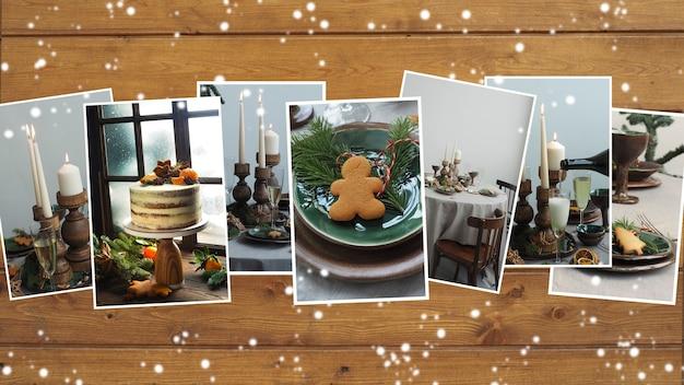 나무 갈색 배경에 테이블 설정이 있는 회색-녹색 톤의 크리스마스 사진 모음입니다. 복사 공간