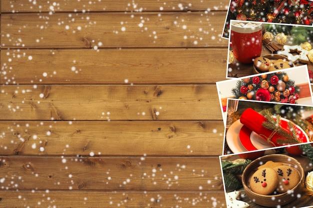 나무 갈색 배경에 쿠키, 장식 및 테이블 설정이 있는 크리스마스 사진 모음입니다. 복사 공간