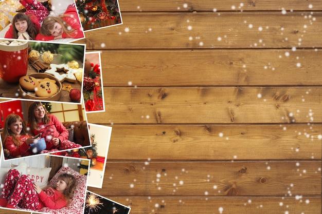 나무 갈색 배경에 잠옷, 쿠키, 장식 및 테이블 설정을 입은 아이들과 함께하는 크리스마스 사진 모음입니다. 복사 공간