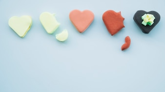 Collection of delicious cookies in form of hearts