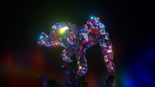 ダイヤモンド動物のコレクション。ゴリラを実行しています。自然と動物の概念。シームレスループの3dアニメーション。低ポリ