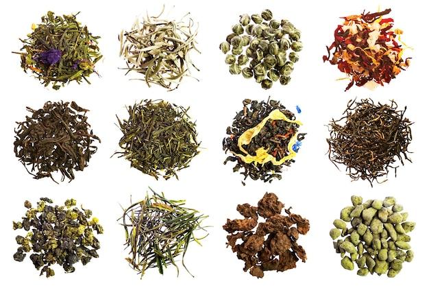 Коллекция разных чаев, изолированные на белом фоне