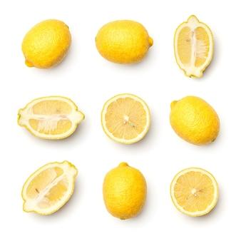 Сбор лимонов, изолированные на белом фоне. набор из нескольких изображений. часть серии