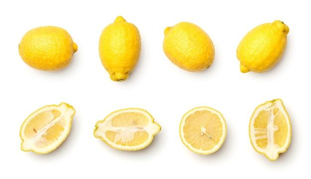 Сбор лимонов, изолированные на белом фоне