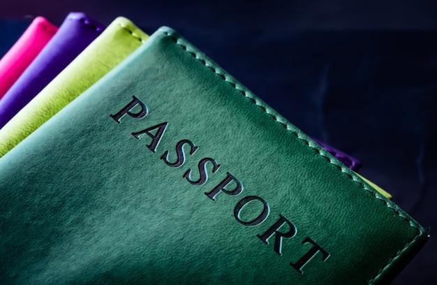 화려한 가죽 커버에 여권 컬렉션