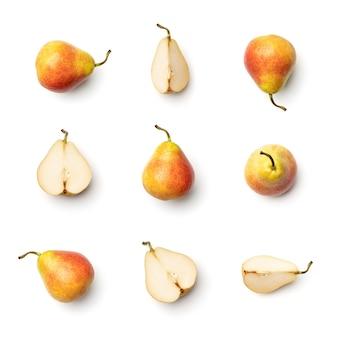 白い背景で隔離の梨のコレクション。複数の画像のセット。シリーズの一部