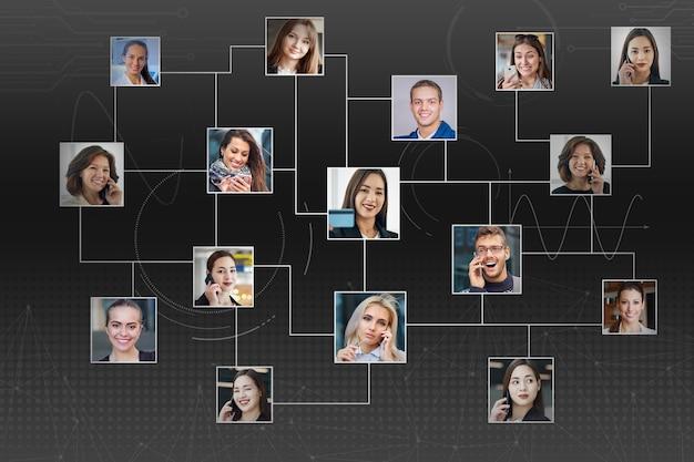 人々の肖像画のコレクション。ビジネス、人、人材、ソーシャルネットワーク、テクノロジーの概念