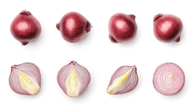 白い背景で隔離の赤玉ねぎのコレクション。複数の画像のセット。シリーズの一部
