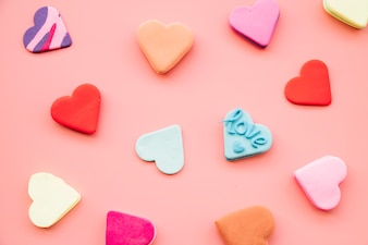 Collection of tasty fresh colourful cookies in form of hearts