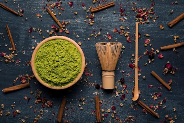 伝統的なアジアの緑茶のコレクション