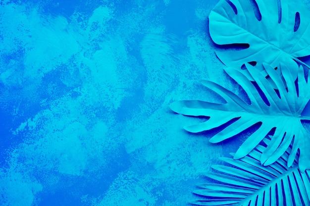 열대 나뭇잎의 컬렉션, 화려한 그라데이션 페인팅 배경에 단풍 식물