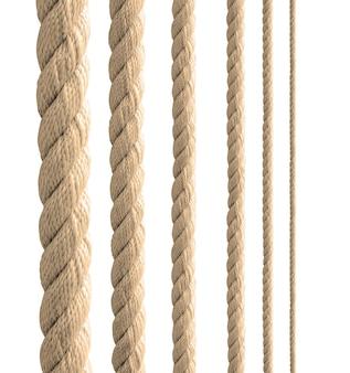 白い背景の上の様々なロープストリングのコレクション。