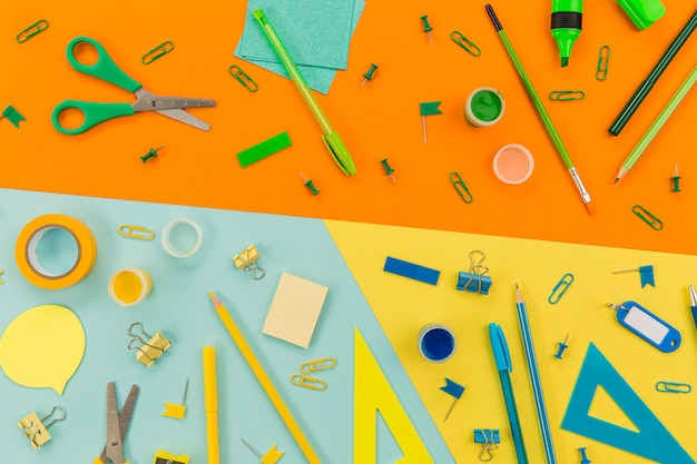 Collection of office supplies on the table concept