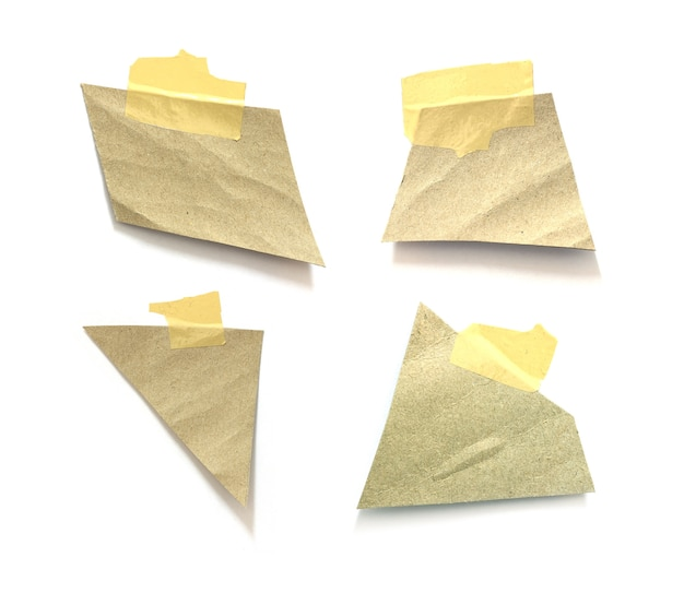 Collection of old ripped paper with adhesive tape on white background