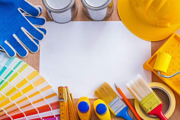 Collection of painting articles on wood board construction concept