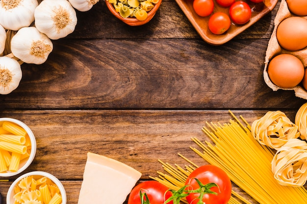 Raccolta di ingrediente di pasta