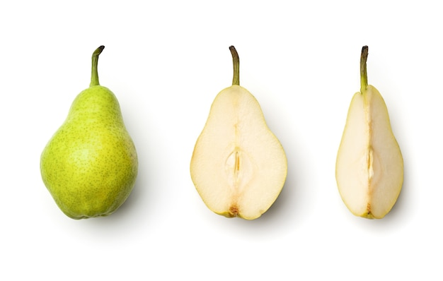 Collection of pears isolated on white background. set of multiple images. part of series