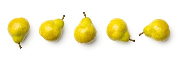 Collection of pears isolated on white