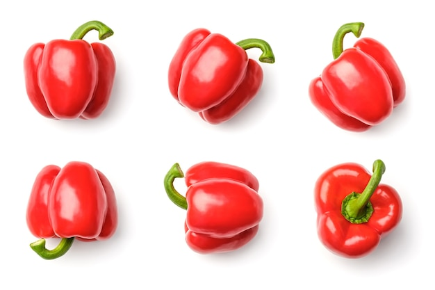 Collection of peppers isolated on white background. set of multiple images. part of series