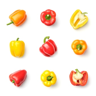Collection of peppers isolated on white