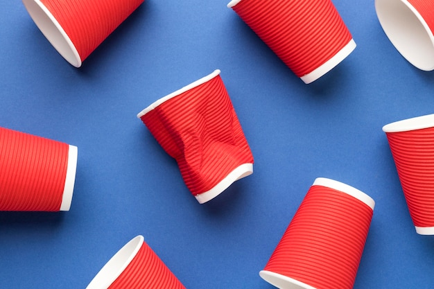 Collection of plastic cups on the table