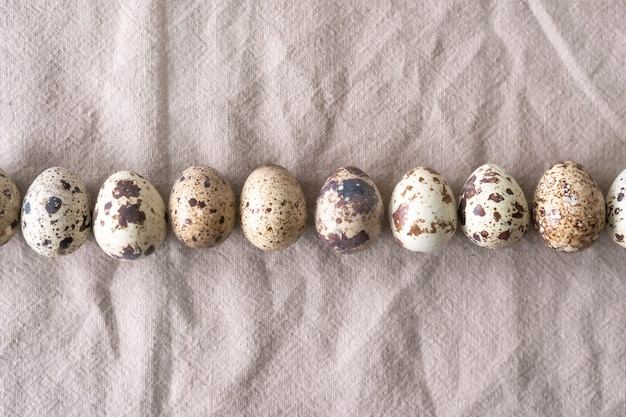 Collection of quail eggs, easter. flat lay, top view. easter concept.