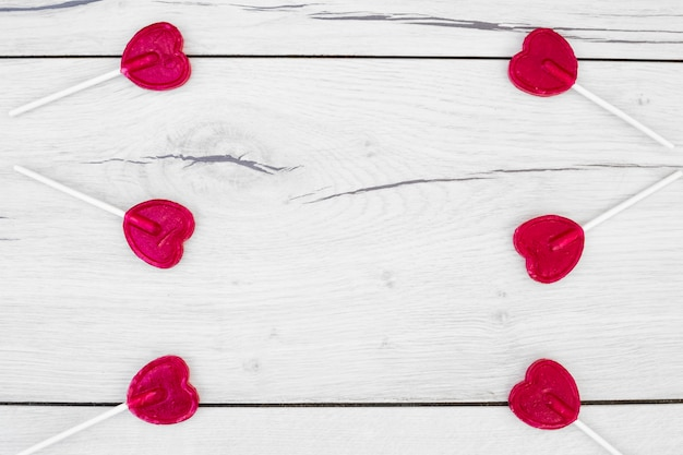 Collection of red lollipops on wands