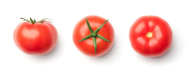 Collection of red tomatoes isolated on white background. set of multiple images. part of series