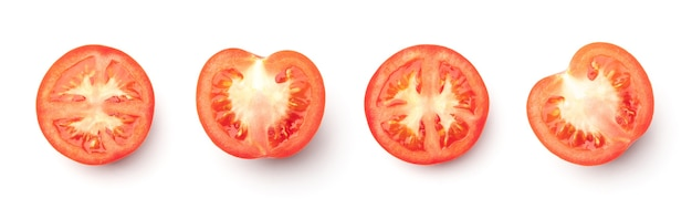Collection of red tomatoes isolated on white background