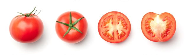 Collection of red tomatoes isolated on white